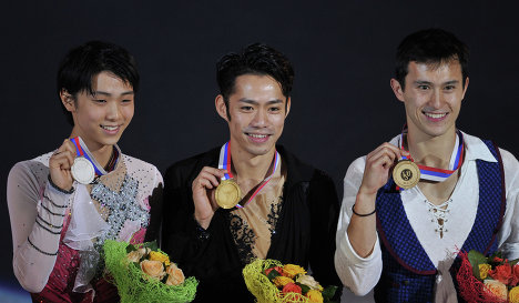 Yuzuru Hanyu, Daisuke Takahashi and Patrick Chan (left to right)