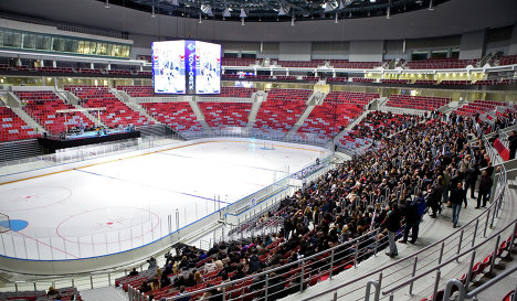 The first hockey game at the Ice Palace Bolshoi in Sochi