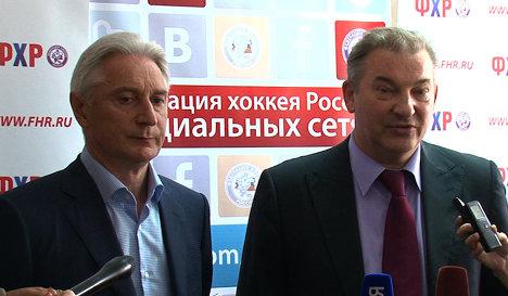 Zinetula Bilyaletdinov (left) and Vladislav Tretiak