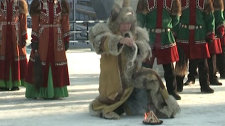 The Olympic flame was welcomed in Yakutsk with the algys traditional rite