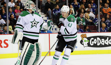 Kari Lehtonen and Valeri Nichushkin (right)