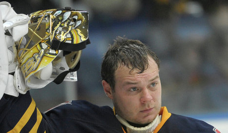 Khudobin during his time in the KHL with Atlant