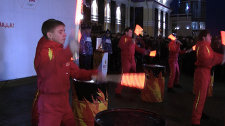 Drummers mark arrival of the 2014 Winter Olympics in Novokuznetsk with a show