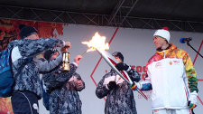 The ceremony celebrating the Olympic Torch Relay at Barnaul Stadium