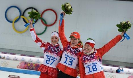 Selina Gasparin, Darya Domracheva and Nadezhda Skardino (left to right)