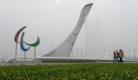 The Paralympic emblem at the Sochi Olympic Park