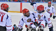 Russian sledge hockey players celebrate