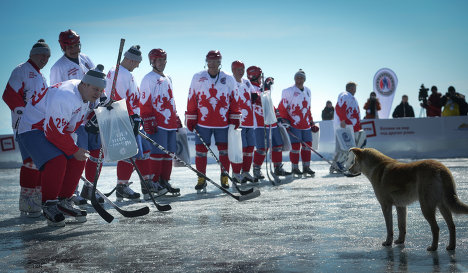 Russian Hockey Stars Play On Frozen Surface Of World's Deepest Lake
