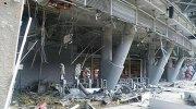 """Вид на стадион """"Донбасс Арена"""" после попадания бомбы"""