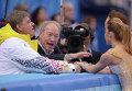Слева направо: тренеры Ростислав Синицын и Мартин Скотницкий и Нелли Жиганшина и Александр Гажи