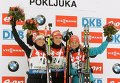 Доротея Вирер (Италия) – 2-е место, Габриэла Соукалова (Чехия), – 1-е место, Валентина Семеренко (Украина) – 3-е место (слева направо)