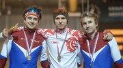 Денис Юсков – серебряная медаль, Павел Кулижников – золотая медаль, Алексей Есин – бронзовая медаль (слева направо)