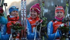 Российские биатлонистки Дарья Виролайнен, Екатерина Шумилова, Екатерина Глазырина (слева направо)