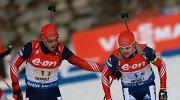 Российские биатлонисты Дмитрий Малышко и Алексей Волков