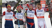 Сборная Норвегии по лыжным гонкам (Никлас Дюрхёуг, Дидрик Тёнсет, Андерс Глёэрсен и Петтер Нортуг).