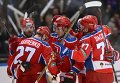 Хоккеисты ПХК ЦСКА радуются заброшенной шайбе