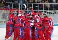 Бендисты сборной России радуются победе в матче чемпионата мира по хоккею